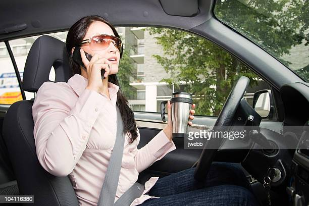 Distracted Driver Talking on her Cell Phone