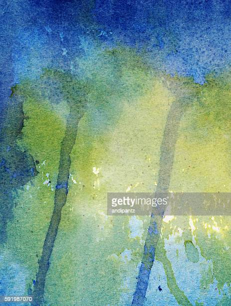 Distressed painting with shades of green and blue