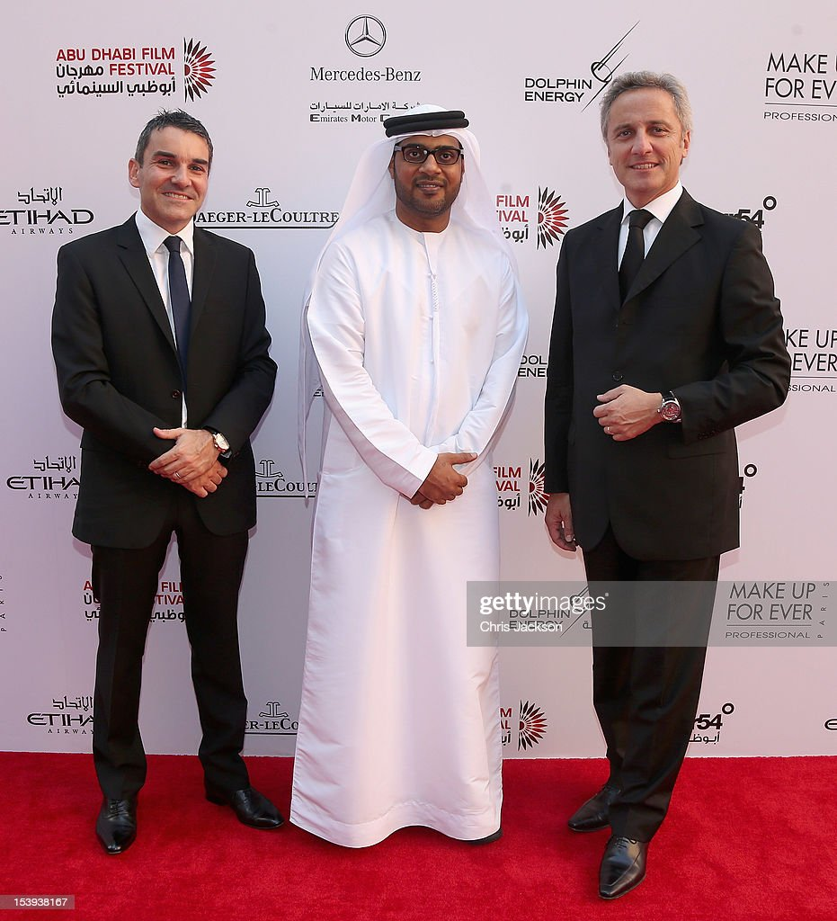 Distribution Director of Jaeger-LeCoultre Jerome Favier (R), Director of ADFF Ali Al-Jabri (C) and Brand Director for Jaeger Le-Coultre Middle East Renaud Pretet attend day one of the Abu Dhabi Film Festival 2012 at Emirates Palace on October 11, 2012 in Abu Dhabi, United Arab Emirates.