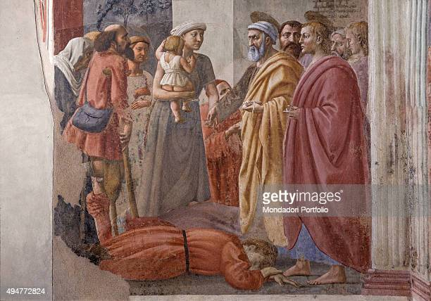 Distribution of Alms and Death of Ananias by Masaccio 14251428 15th Century fresco 230 x 170 cm Italy Tuscany Florence Church of Santa Maria del...