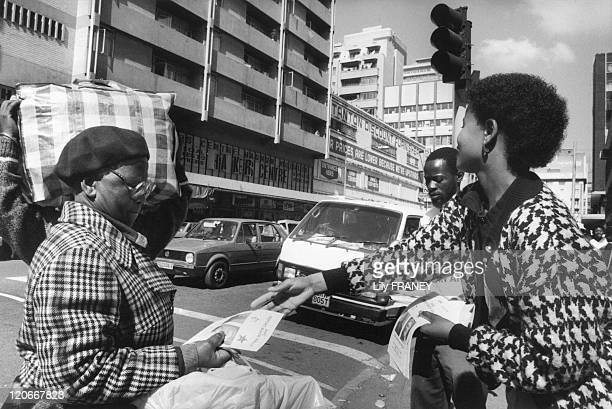 Distribution of leaflets of ANC in Johannesburg South Africa in April 1990 In the streets of Johannesbourg