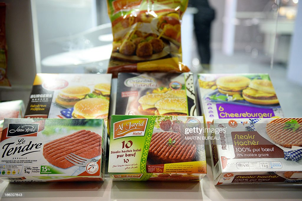 Distributor brand frozen hamburgers are displayed on April 10, 2013 at the MDD Expo (distributor brands expo) of major supermarket chain brands in Paris. The fair presents food made and sold under the names of major supermarket outlets, such as Casino, Carrefour, Cora, Monoprix or Super U.
