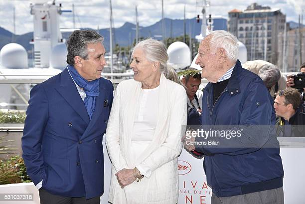 Distributor Charles S Cohen actress Vanessa Redgrave and Jim Ivory attend the 'Howards End' photocall during the 69th annual Cannes Film Festival at...