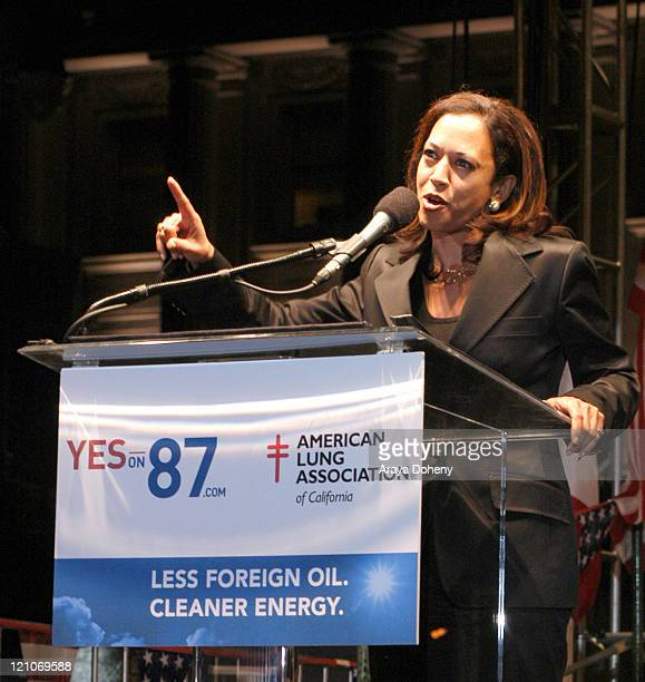 District Attorney Kamala Harris of San Francisco during YES on 87com Proposition Rally with Guest Speakers Bill Clinton and Eva Longoria at San...