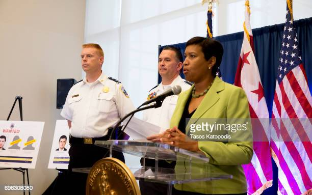 District of Columbia Mayor Muriel Bowser speaks at press conference on June 15 2017 in Washington DC Bowser spoke on the recent arrests related to...
