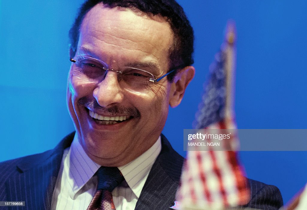 District of Columbia Mayor Vincent Gray smiles on December 6, 2012 during the opening plenary breakfast of the 36th Annual Legislative Conference of The National Black Caucus of State Legislators (NBCSL) at a hotel in Washington, DC. AFP PHOTO/Mandel NGAN