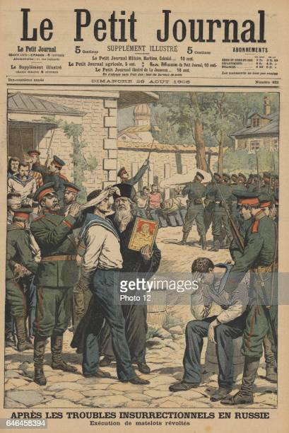 Execution by firing squad of muntinous sailors from Sveaborg From 'Le Petit Journal' Paris 26 August 1906