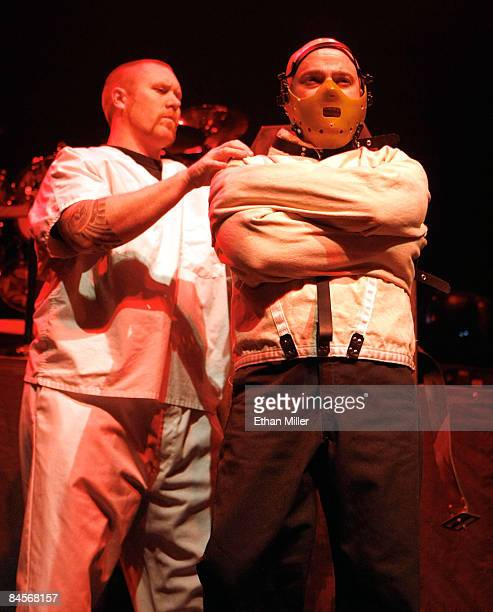 Disturbed singer David Draiman is brought onstage in a straitjacket and mask during a soldout show at The Pearl concert theater at the Palms Casino...