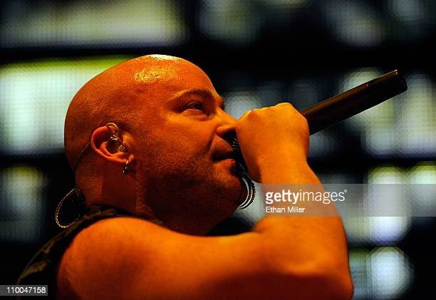 Disturbed singer David Draiman performs during the Music as a Weapon 5 tour at The Joint inside the Hard Rock Hotel Casino March 12 2011 in Las Vegas...