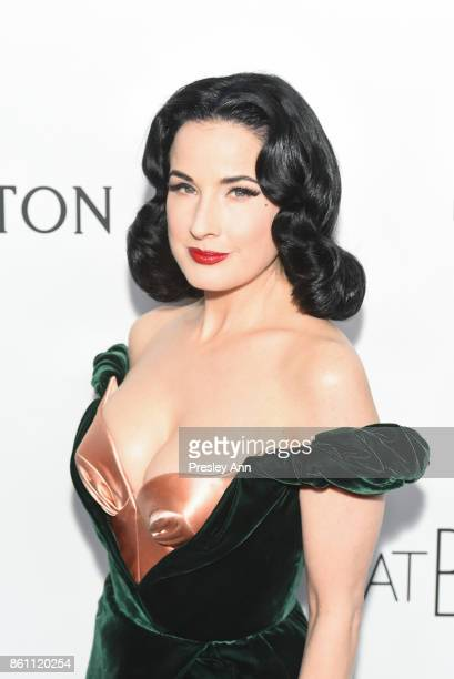 Dita Von Tease attends amfAR Los Angeles 2017 Arrivals at Ron Burkleâs Green Acres Estate on October 13 2017 in Beverly Hills Californi