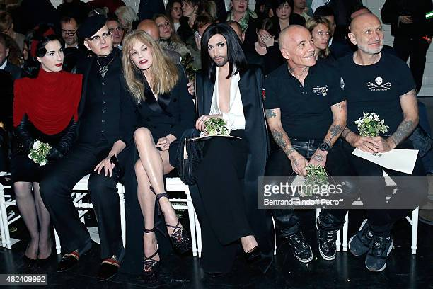 Dita Von Teese Ali Mahdavi Arielle Dombasle Conchita Wurst and Pierre et Gilles attend the Jean Paul Gaultier show as part of Paris Fashion Week...