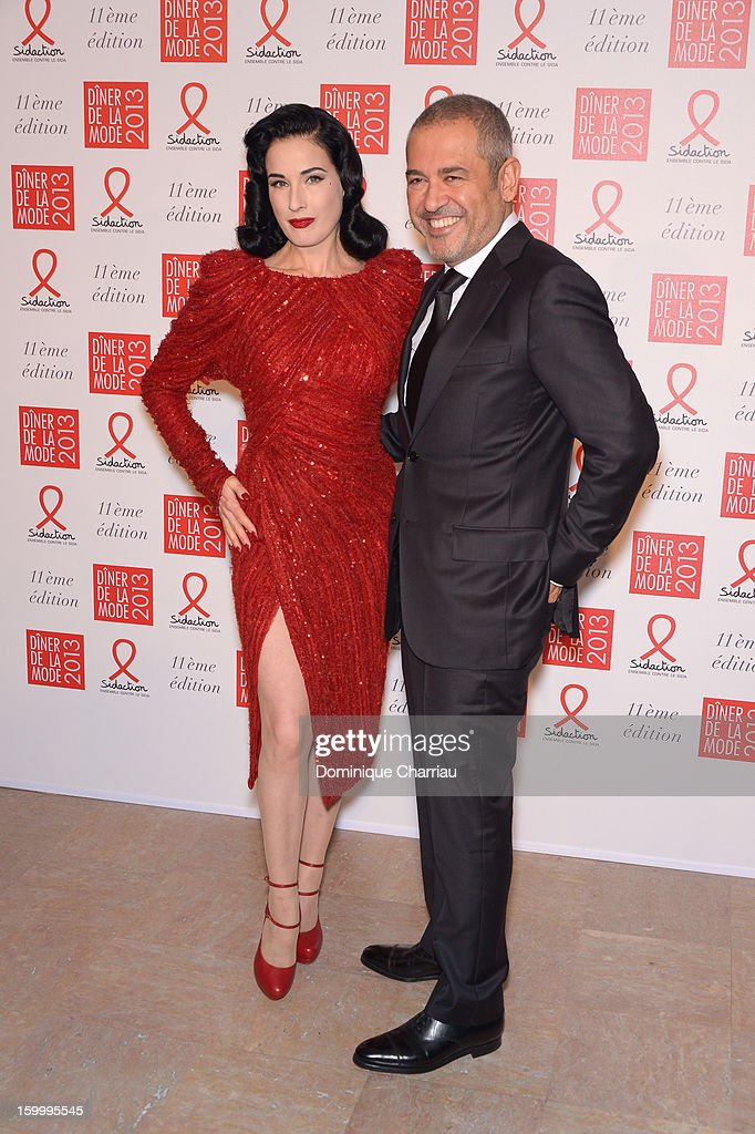 Dita Von Teese and Elie Saab attend the Sidaction Gala Dinner 2013 at Pavillon d'Armenonville on January 24, 2013 in Paris, France.