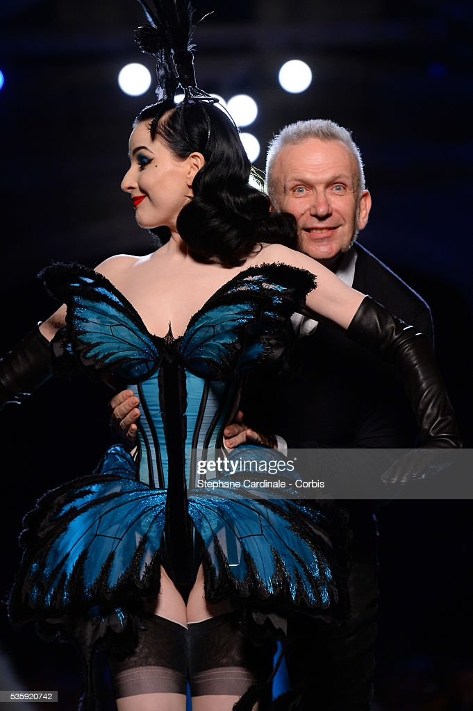 Dita Von Teese and Jean Paul Gaultier at the finale of his show as part of Paris Fashion Week Haute Couture Spring/Summer 2014, in Paris.