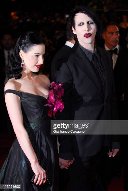 Dita Von Teese and Marilyn Manson during 2006 Cannes Film Festival Southland Tales Premiere at Palais des Festival in Cannes France