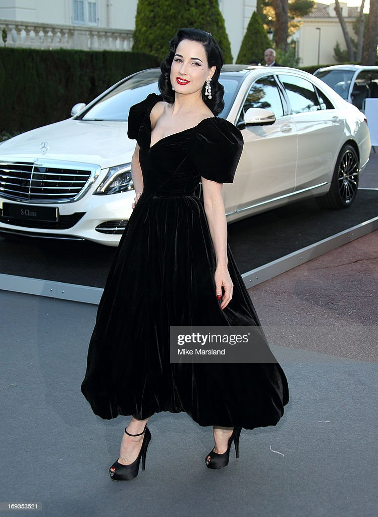 Dita Von Teese arrives at amfAR's 20th Annual Cinema Against AIDS at Hotel du Cap-Eden-Roc on May 23, 2013 in Cap d'Antibes, France.