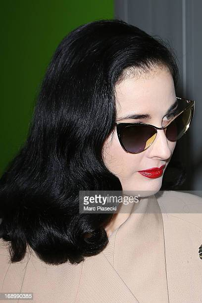 Dita Von Teese arrives at Nice airport during the 66th Annual Cannes Film Festival on May 18 2013 in Nice France