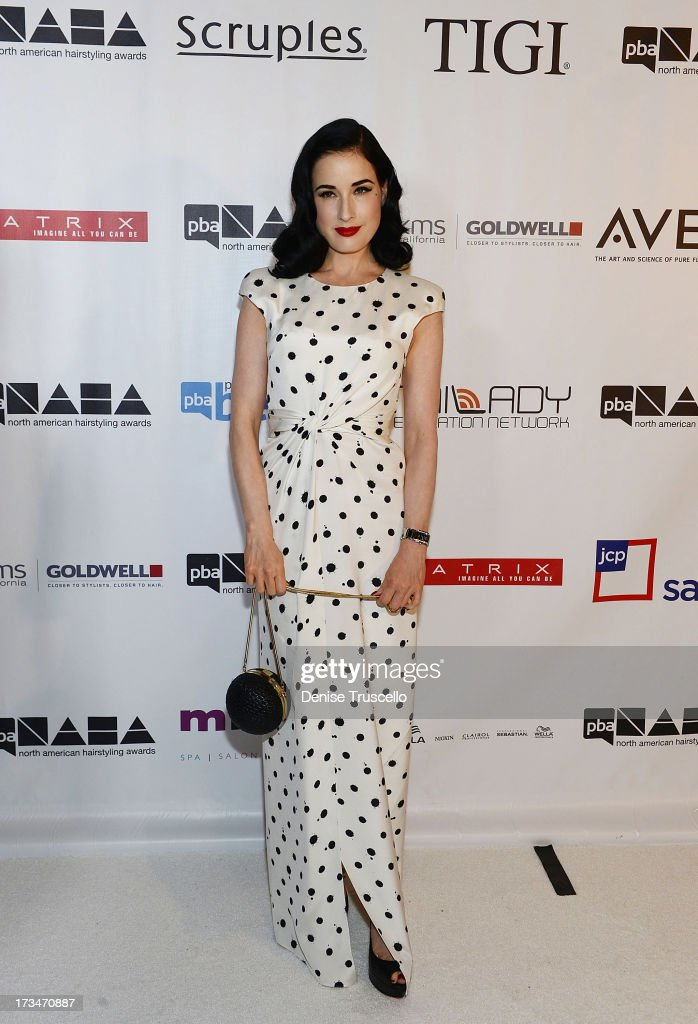 <a gi-track='captionPersonalityLinkClicked' href=/galleries/search?phrase=Dita+Von+Teese&family=editorial&specificpeople=210578 ng-click='$event.stopPropagation()'>Dita Von Teese</a> arrives at the 2013 North American Hairstyling Awards at Mandalay Bay on July 14, 2013 in Las Vegas, Nevada.