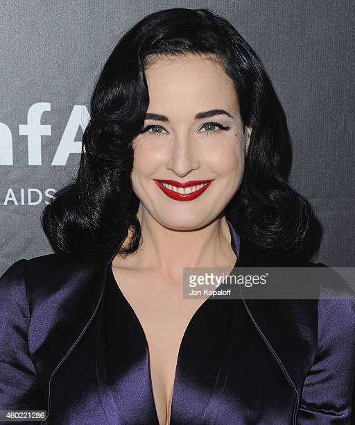 Dita Von Teese arrives at the 2014 amfAR LA Inspiration Gala at Milk Studios on October 29 2014 in Hollywood California