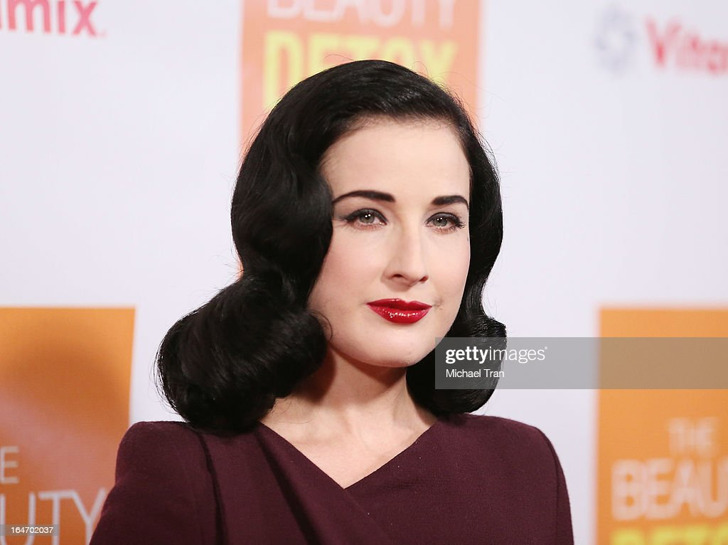 <a gi-track='captionPersonalityLinkClicked' href=/galleries/search?phrase=Dita+Von+Teese&family=editorial&specificpeople=210578 ng-click='$event.stopPropagation()'>Dita Von Teese</a> arrives at the celebrity nutritonist Kimberly Snyder hosts book launch party for 'The Beauty Detox Foods' held at Smashbox West Hollywood on March 26, 2013 in West Hollywood, California.