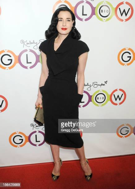 Dita Von Teese arrives at the opening of Kimberly Snyder's Glow Bio on November 14 2012 in West Hollywood California
