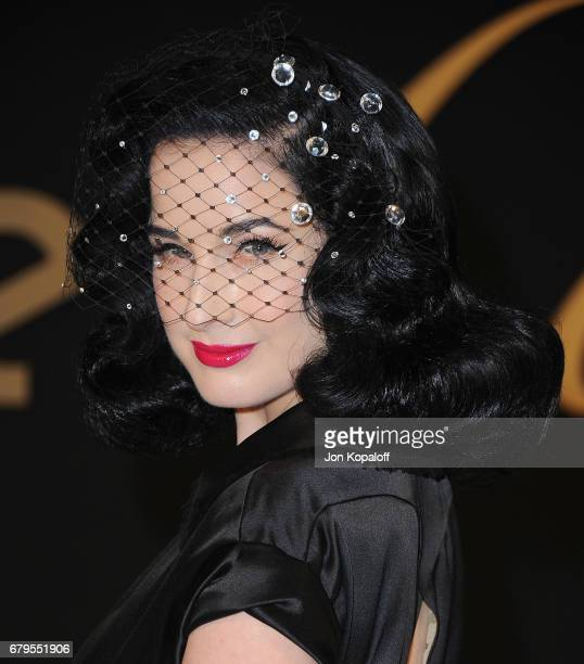 Dita Von Teese arrives at the Panthere De Cartier Party In LA at Milk Studios on May 5 2017 in Los Angeles California