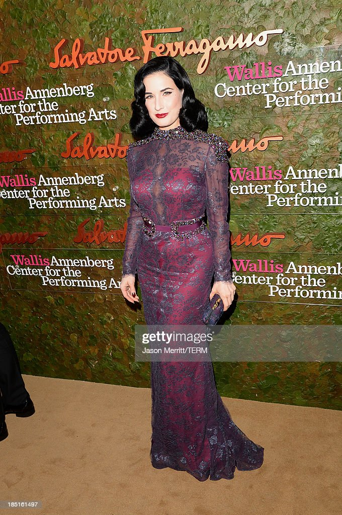 Dita Von Teese arrives at the Wallis Annenberg Center for the Performing Arts Inaugural Gala presented by Salvatore Ferragamo at the Wallis Annenberg Center for the Performing Arts on October 17, 2013 in Beverly Hills, California.