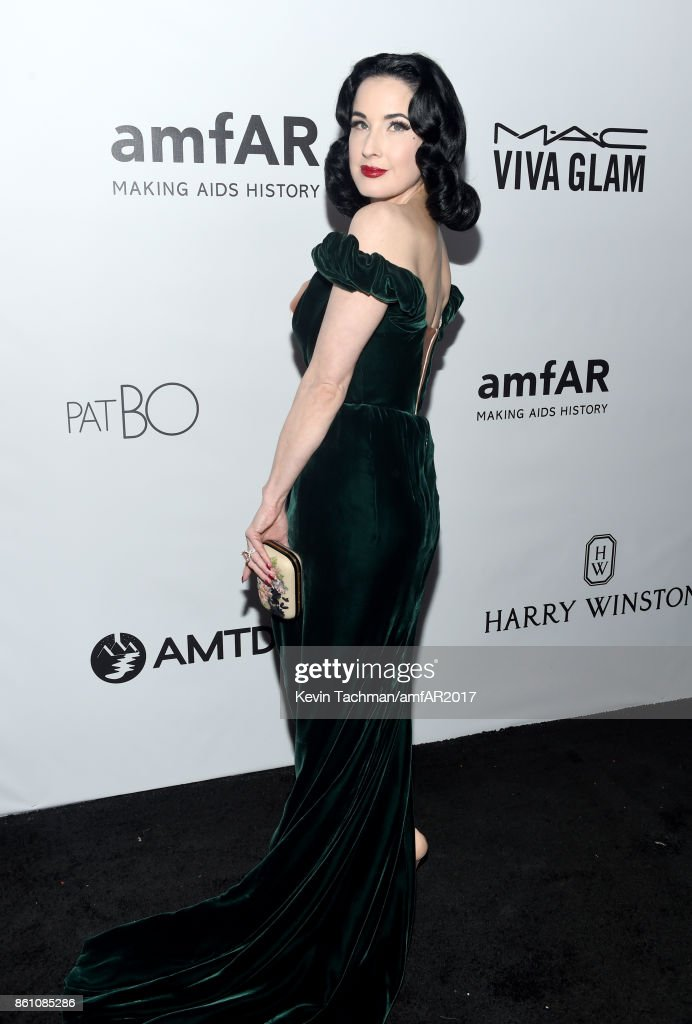 Dita Von Teese at amfAR Los Angeles 2017 at Ron Burkle's Green Acres Estate on October 13, 2017 in Beverly Hills, Californi