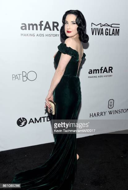 Dita Von Teese at amfAR Los Angeles 2017 at Ron Burkle's Green Acres Estate on October 13 2017 in Beverly Hills Californi