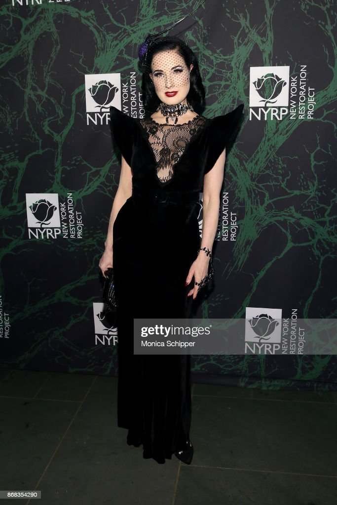 Dita Von Teese attends Bette Midler's 2017 Hulaween event benefiting the New York Restoration Project at Cathedral of St. John the Divine on October 30, 2017 in New York City.