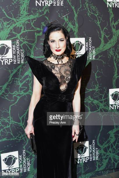 Dita Von Teese attends Bette Midler's 2017 Hulaween Event Benefiting The New York Restoration Project at Cathedral of St John the Divine on October...