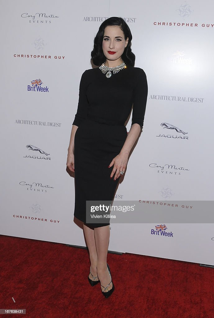 Dita Von Teese attends British luxury furnishings designer Christopher Guy presents BritWeek design icon award to design director of Jaguar Ian Callum at Christopher Guy West Hollywood Showroom on April 26, 2013 in West Hollywood, California.