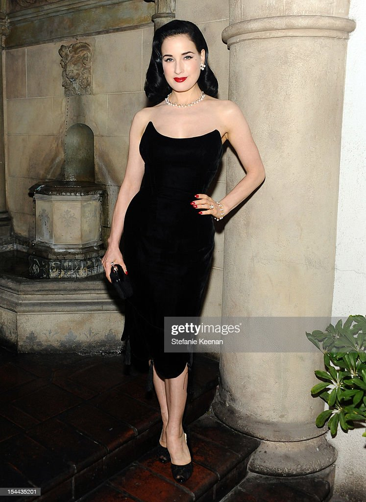 <a gi-track='captionPersonalityLinkClicked' href=/galleries/search?phrase=Dita+Von+Teese&family=editorial&specificpeople=210578 ng-click='$event.stopPropagation()'>Dita Von Teese</a> attends Cameron Silver's 'Decades: A Century Of Fashion' book party hosted by Marina B at Chateau Marmont's Bar Marmont on October 19, 2012 in Hollywood, California.