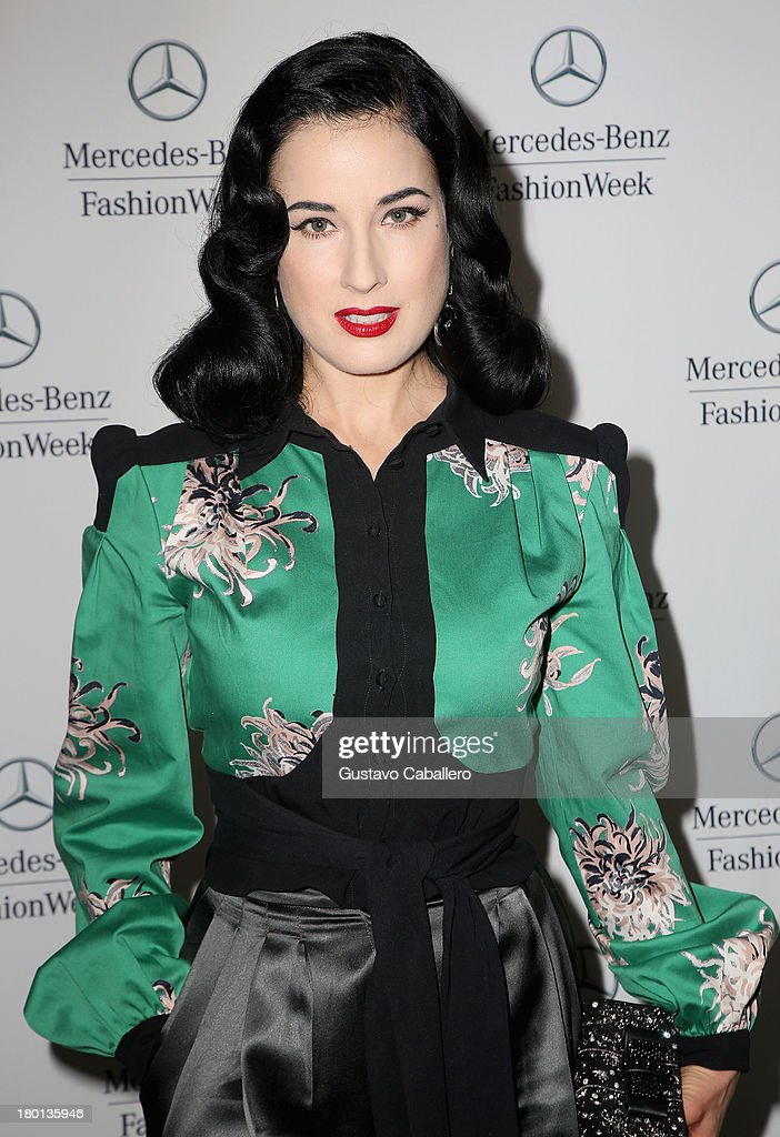Dita Von Teese attends Day 5 of Mercedes-Benz Fashion Week Spring 2014 at Lincoln Center for the Performing Arts on September 9, 2013 in New York City.