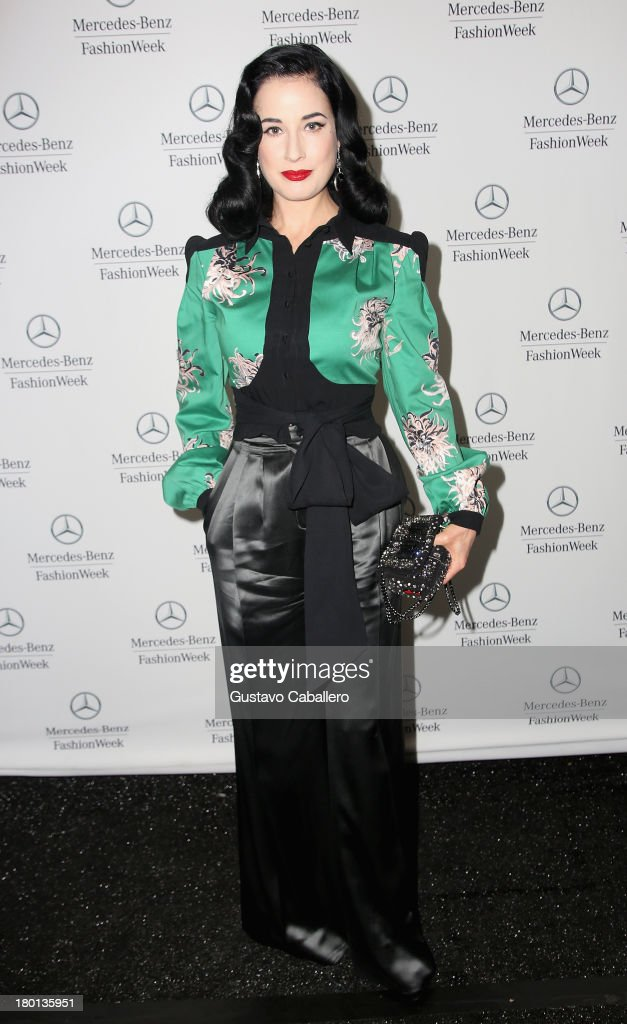 <a gi-track='captionPersonalityLinkClicked' href=/galleries/search?phrase=Dita+Von+Teese&family=editorial&specificpeople=210578 ng-click='$event.stopPropagation()'>Dita Von Teese</a> attends Day 5 of Mercedes-Benz Fashion Week Spring 2014 at Lincoln Center for the Performing Arts on September 9, 2013 in New York City.