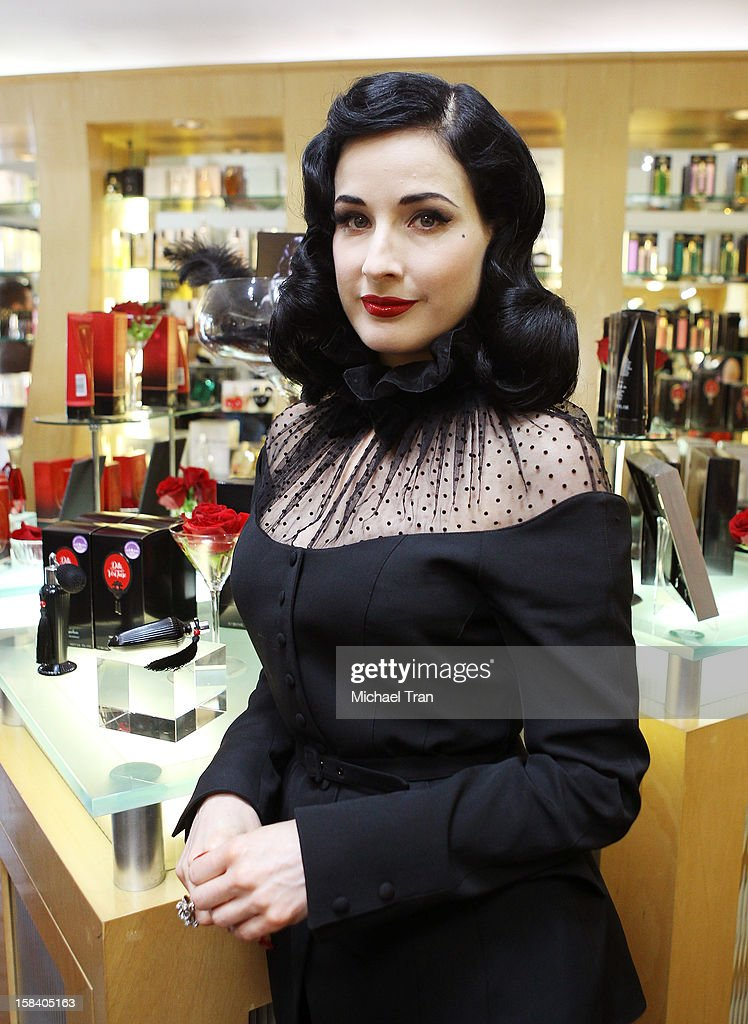 <a gi-track='captionPersonalityLinkClicked' href=/galleries/search?phrase=Dita+Von+Teese&family=editorial&specificpeople=210578 ng-click='$event.stopPropagation()'>Dita Von Teese</a> attends her U.S. perfume launch and in-store appearance held at Ron Robinson Fred Segal on December 15, 2012 in West Hollywood, California.