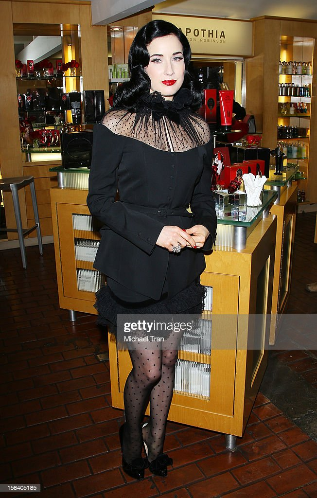 Dita Von Teese attends her U.S. perfume launch and in-store appearance held at Ron Robinson Fred Segal on December 15, 2012 in West Hollywood, California.