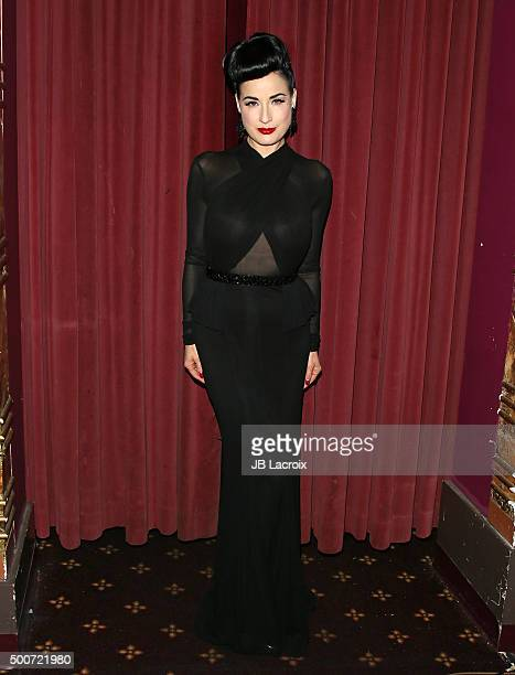 Dita Von Teese attends Live Talks LA presents an evening with Dita Von Teese and friends on December 9 2015 in Westwood California