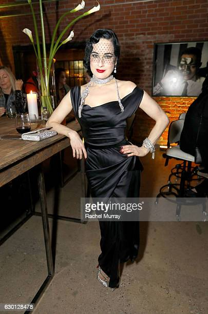 Dita Von Teese attends MOCA's Leadership Circle and Members' Opening dinner party for 'Rick Owens Furniture' on December 16 2016 in Los Angeles...