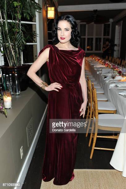 Dita Von Teese attends Roland Mouret's The Dinner of Love in LA at Chateau Marmont on November 6 2017 in Los Angeles California