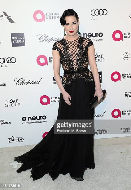 Dita Von Teese attends the 23rd Annual Elton John AIDS Foundation's Oscar Viewing Party on February 22 2015 in West Hollywood California