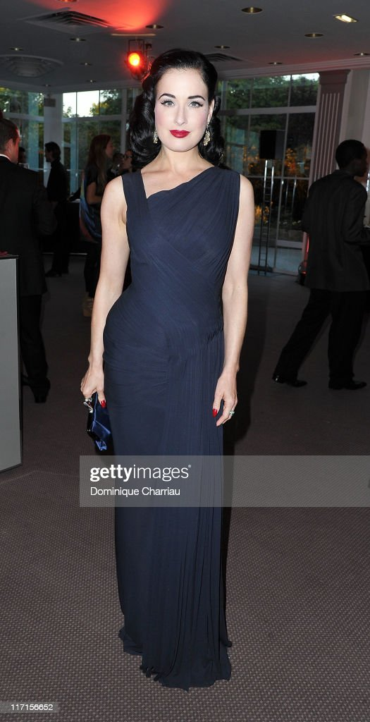 Dita Von Teese attends the 25th amfAR Inspiration Gala at Pavillon Gabriel on June 23, 2011 in Paris, France.