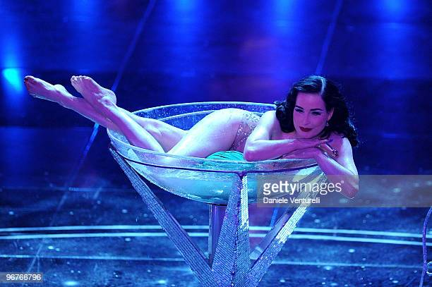 Dita Von Teese attends the 60th Sanremo Song Festival at the Ariston Theatre On February 16 2010 in San Remo Italy
