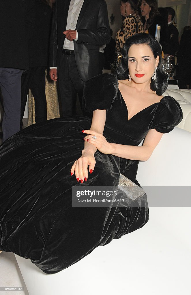 <a gi-track='captionPersonalityLinkClicked' href=/galleries/search?phrase=Dita+Von+Teese&family=editorial&specificpeople=210578 ng-click='$event.stopPropagation()'>Dita Von Teese</a> attends the after party for amfAR's 20th Annual Cinema Against AIDS during The 66th Annual Cannes Film Festival at Hotel du Cap-Eden-Roc on May 23, 2013 in Cap d'Antibes, France.
