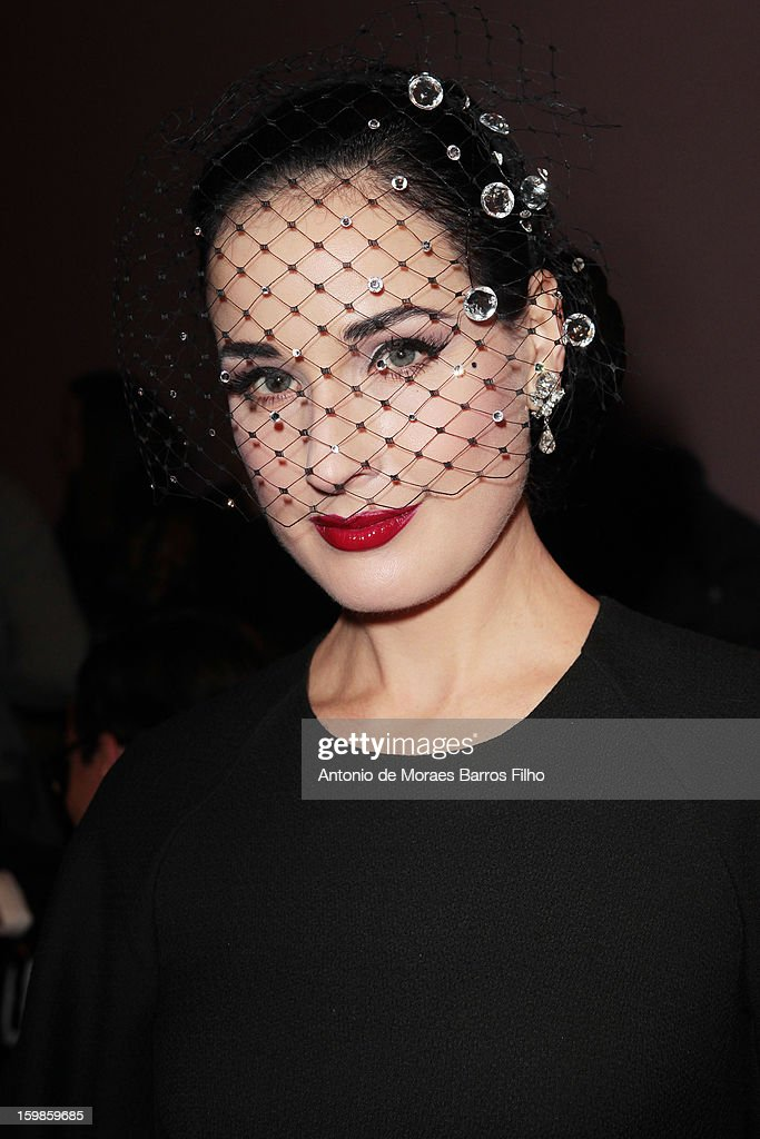 <a gi-track='captionPersonalityLinkClicked' href=/galleries/search?phrase=Dita+Von+Teese&family=editorial&specificpeople=210578 ng-click='$event.stopPropagation()'>Dita Von Teese</a> attends the Alexis Mabille Spring/Summer 2013 Haute-Couture show as part of Paris Fashion Week at Mairie du 4e on January 21, 2013 in Paris, France.