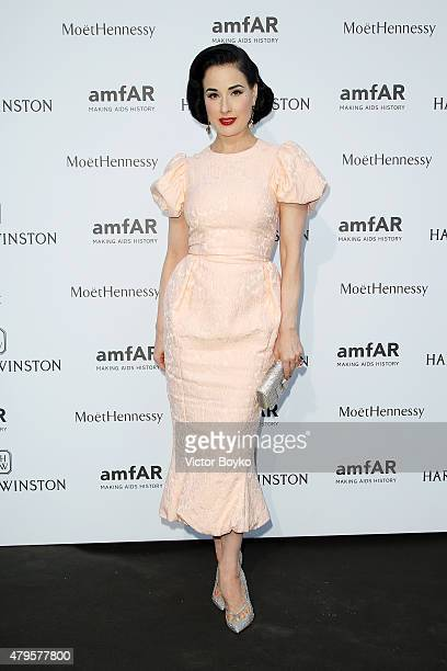 Dita Von Teese attends the amfAR dinner at the Pavillon LeDoyen during the Paris Fashion Week Haute Couture on July 5 2015 in Paris France