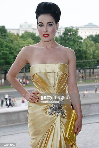 Dita Von Teese attends the amfAR Gala Vienna 2010 as part of the Life Ball 2010 at Parliament Of Austria on July 17 2010 in Vienna Austria