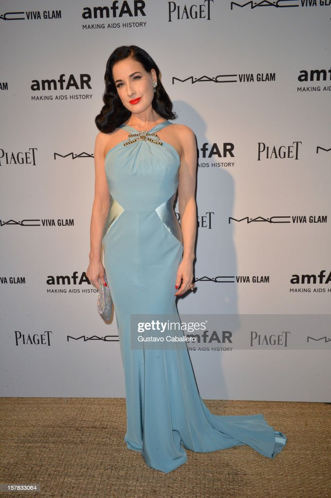 Dita Von Teese attends the amfAR Inspiration Miami Beach Party at Soho Beach House on December 6, 2012 in Miami Beach, Florida.