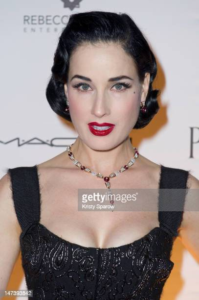 Dita Von Teese attends the amfAR Inspiration Night Paris at Maxim's on June 28 2012 in Paris France