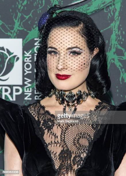 Dita Von Teese attends the Bette Midler's 2017 Hulaween Event Benefiting The New York Restoration Project at Cathedral of St John the Divine on...