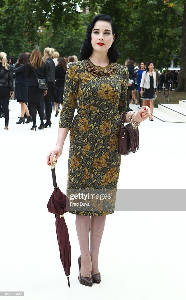 Dita Von Teese attends the Burberry Prorsum show on day 4 of London Fashion Week Spring/Summer 2013, on September 17, 2012 in London, England.